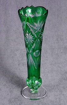 Overlay Green Glass Bud Vase