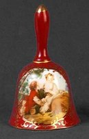 RUBY RED PORCELAIN NIPPON TYPE COURTSHIP BELL