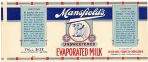 Mansfield Evaporated Milk Label - Cow