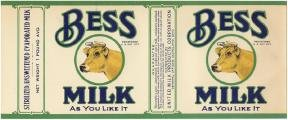 Bess Evaporated Milk Label