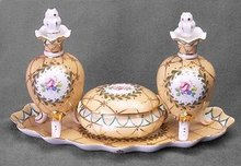YELLOW PORCELAIN PERFUME BOTTLES SET