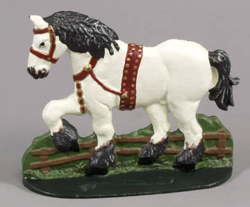 VINTAGE PONY HORSE CAST IRON DOOR STOP