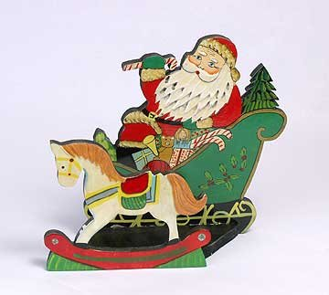 SANTA CLAUS AND ROCKING HORSE XMAS CARD HOLDER