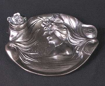 PEWTER SILVER LADY INKWELL