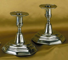 2 PEWTER CANDLESTICKS