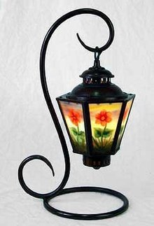 HAND PAINTED PANELED TABLE LAMP