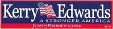 KERRY EDWARDS DECALS - CAR BUMPER STICKERS POLITICAL