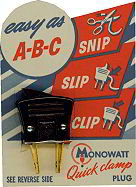 Bakelite Electric Clamp on Display Card - Monowatt