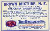 Brown Mixture Opium Medicine Label