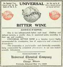 Universal Bitters Wine Label