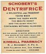 VINTAGE DENTAL LABELS - SCHOBERT'S DENTIFRICE DENTISTRY LABELS - MEDICINE - OLD ADVERTISING - BOTTLES