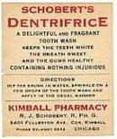 VINTAGE DENTAL LABELS - SCHOBERT'S DENTIFRICE DENTISTRY LABELS - MEDICINE - OLD ADVERTISING - BOTTLES
