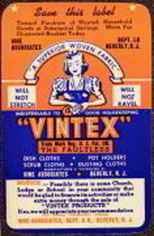 Vintex Dish Cloth Labels 1940s