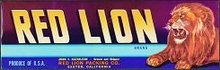 RED LION GRAPE CRATE LABEL / VINTAGE FOOD