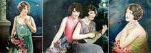 ROMANTIC LADIES ART LITHOGRAPH PRINTS