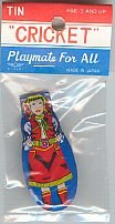 COWGIRL TOY CLICKER / VINTAGE LITHO TIN CLICKERS
