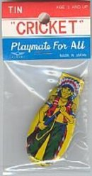 INDIAN TOY CLICKER / VINTAGE LITHO TIN CLICKERS