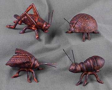 CAST IRON INSECTS / 4 BRAND NEW STATUE FIGURES