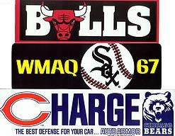 SPORTS BUMPER STICKERS / 5 VINTAGE CHICAGO