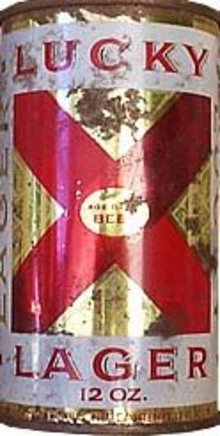LUCKY LAGER BEER TIN CAN / VINTAGE ADVERTISING