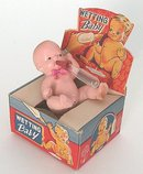 Wetting Baby Bisque Doll in Original Box