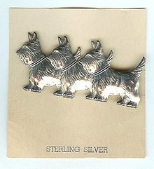 Scottie Dog Pin - Sterling Silver Jewelry