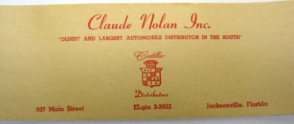 Claude Nolan Cadillac Paper Labels on Roll -
