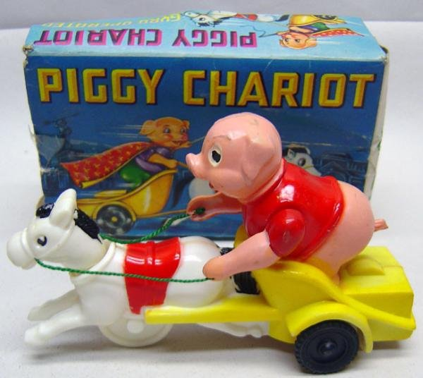 Pig Chariot Toy - Friction Wheels in Original