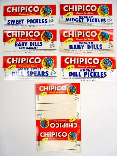 Kosher Pickle Labels - 350 Vintage Lot CHIPICO