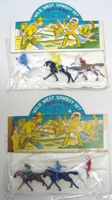 Cowboy Indian Toys - 10 Vintage Wild West 1960s
