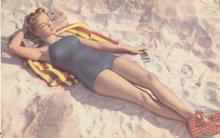 Pinup Girl Linen Postcard 1950s
