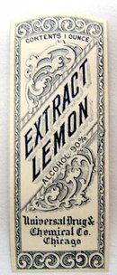 Universal Lemon Extract Pharmacy Labels Lot