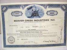 Beaver Creek Stock Certificates Lot 1969