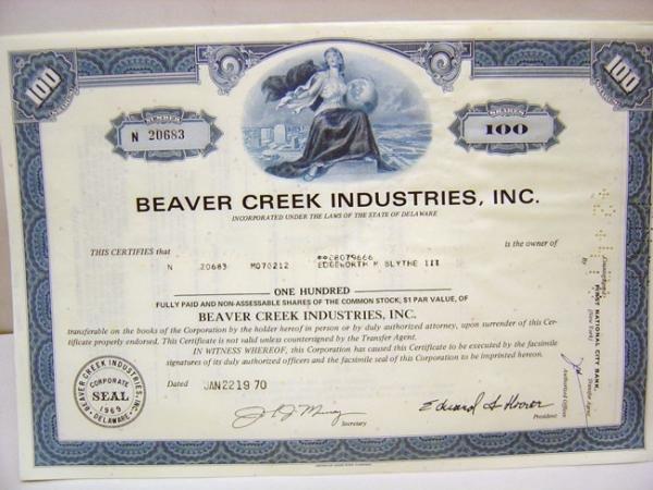 Beaver Creek Stock Certificates Lot 1969