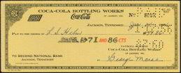 Coca-Cola Soda Check 1956