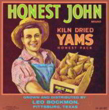 Honest John Yams Crate Label