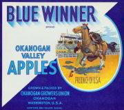 Blue Winner Apple Crate Label