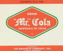 Mr. Cola Grapette Soda Bank Label 1960s
