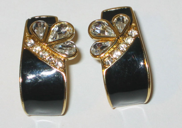 Trifari Black Rhinestone Earrings