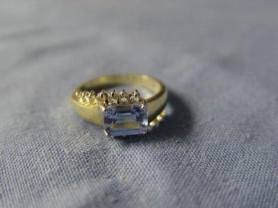 Emerald Cut Tanzanite CZ Ring