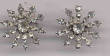 Rhinestone Snowflake Screw On Estate Earrings