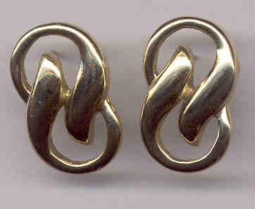 Goldtone Swirl Pierced Estate Earrings