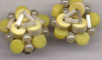 Yellow Beaded Clip Earrings