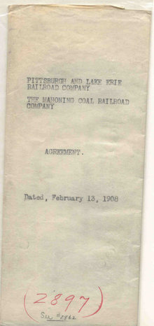 Pittsburgh Lake Erie Railroad Agreement 1908