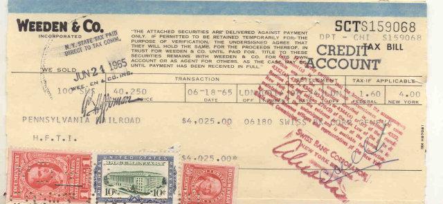 Weeden & Co. Stamped Credit Receipt