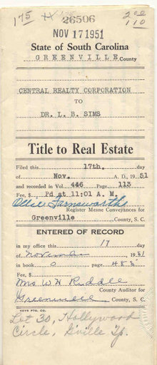 Title to South Carolina Real Estate Deed 1951