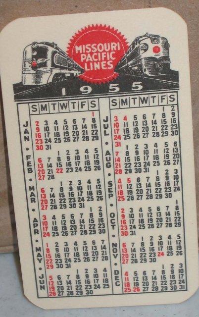 Missouri Pacific Railroad Calendar 1955