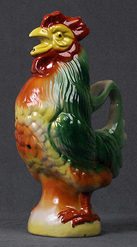 Majolica Style Rooster Pitcher