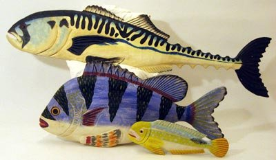 Carved Wood Fish Sculpture