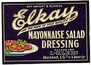 Elkay Mayonnaise Salad Labels